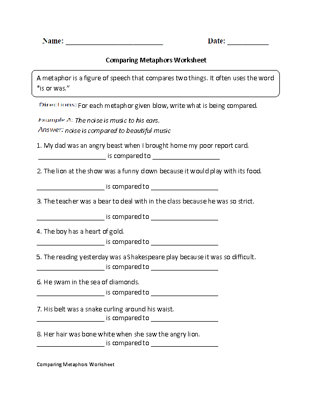 Comparing Metaphors Worksheet | 6th Grade ELA | Pinterest