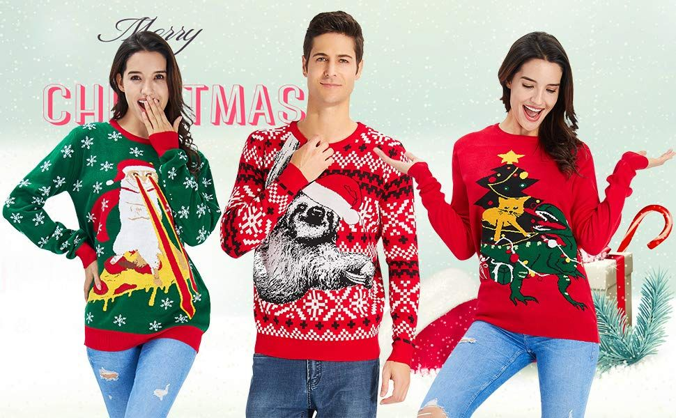 Christmas sweaters couple