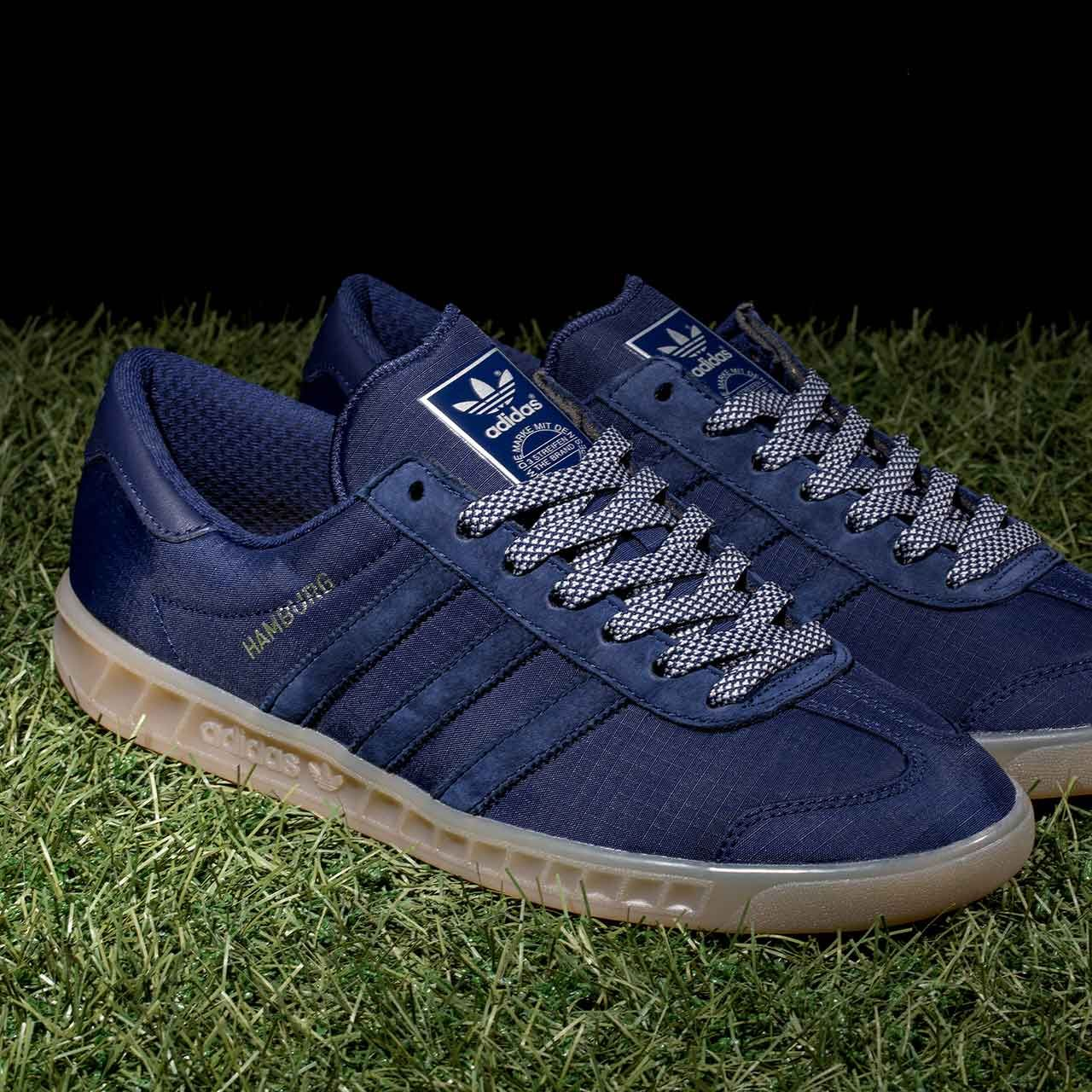 New In - The adidas Originals Hamburg Tech Trainer in Dark Blue & Gum. More