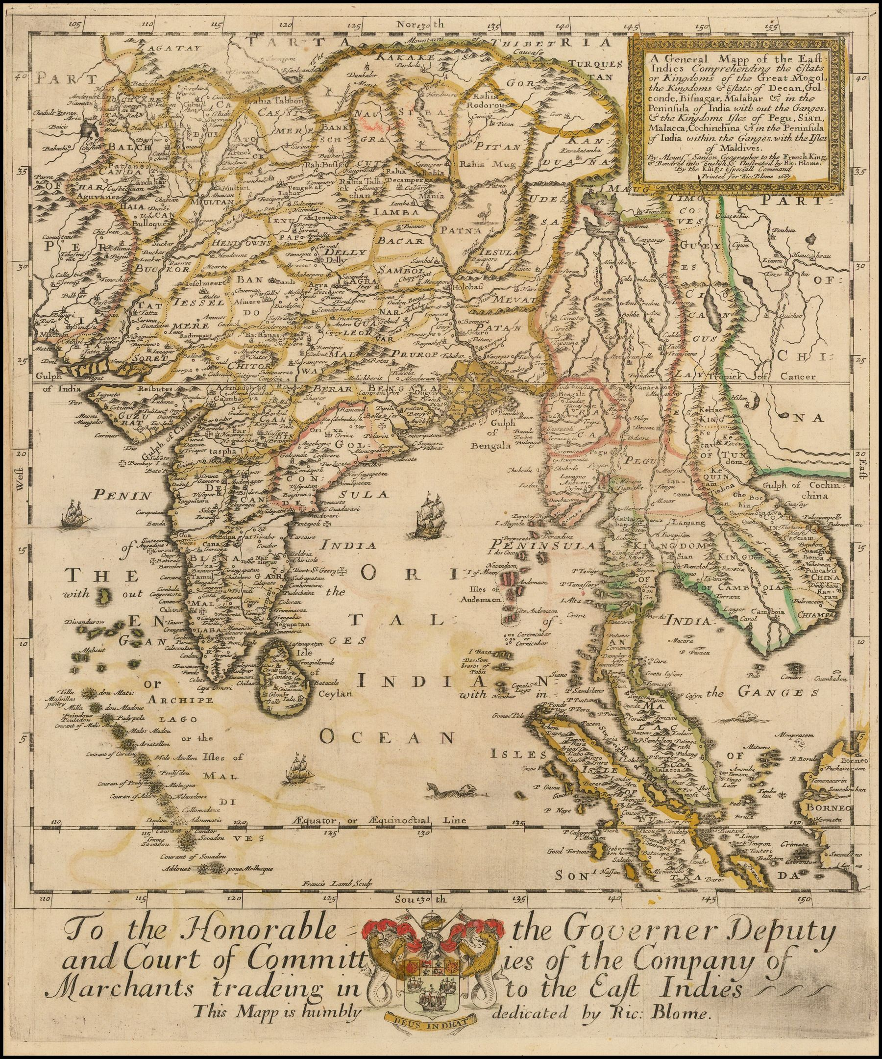 1667 East Indies Including The Empire Of The Grand Mogul Barry
