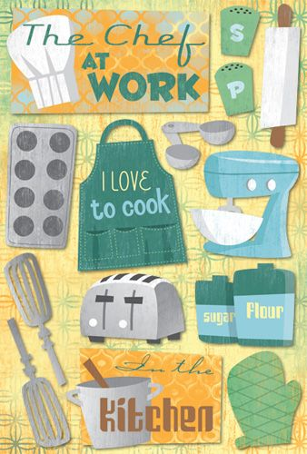 Karen Foster Design - In the Kitchen Collection - Cardstock Stickers - The Chef at Work at Scrapbook.com $2.19