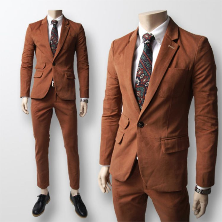 Korean-fashion-mens-brown-suit-pure-water-for-wedding-marry-groom ...