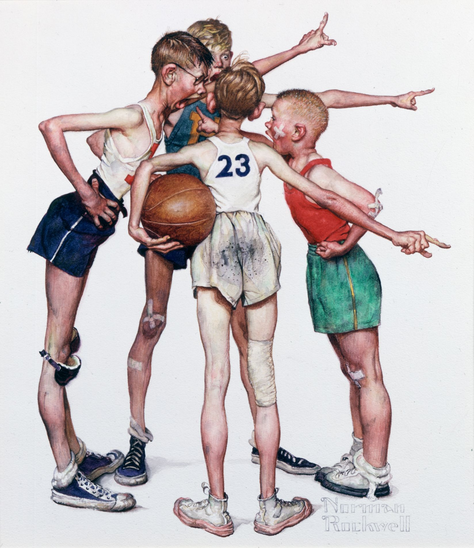 Norman Rockwell - Four Sporting Boys: Basketball