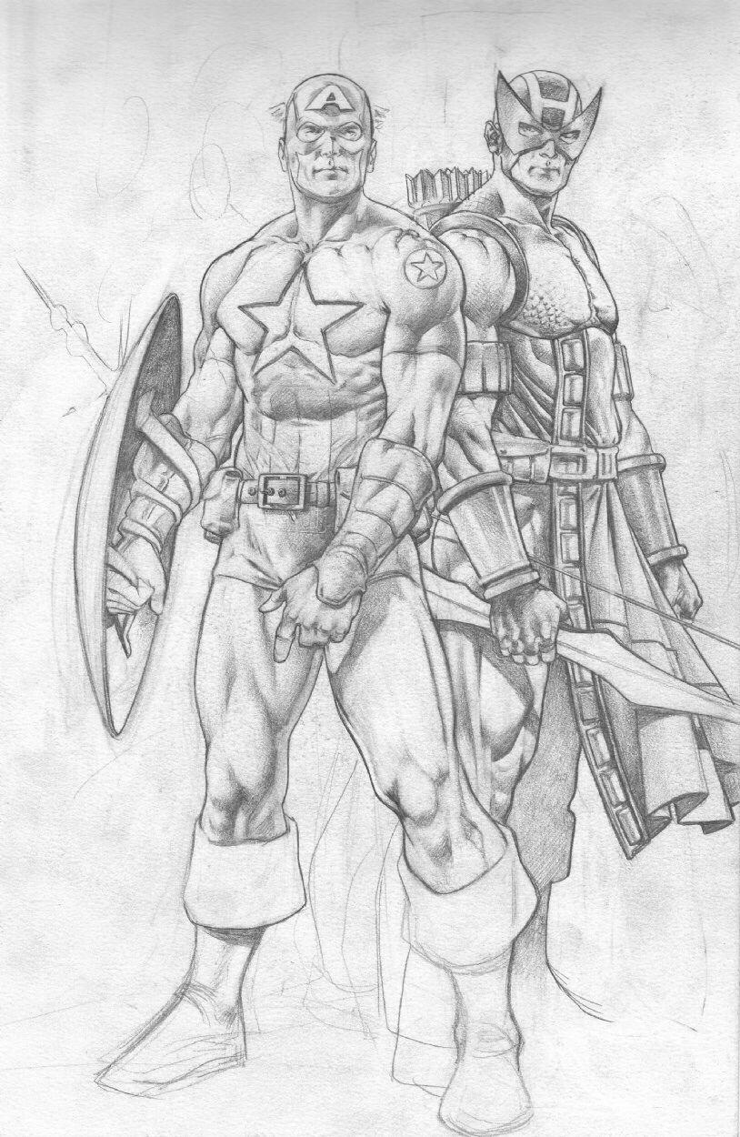 Arturo Lozzi Captain America & Hawkeye Comic Art Comic