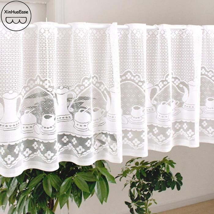 XinHuaEase Short White Tulle Curtain For Kitchen Window