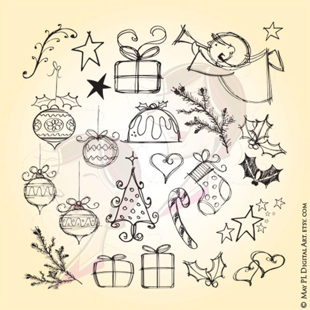 Christmas Drawings Clip Art SVG - Whimsical Angel, Tree, Stocking, Candy Cane, Holly, Stars, Heart, Baubles VECTOR, Commercial Clipart 10525 #clipartfreebies