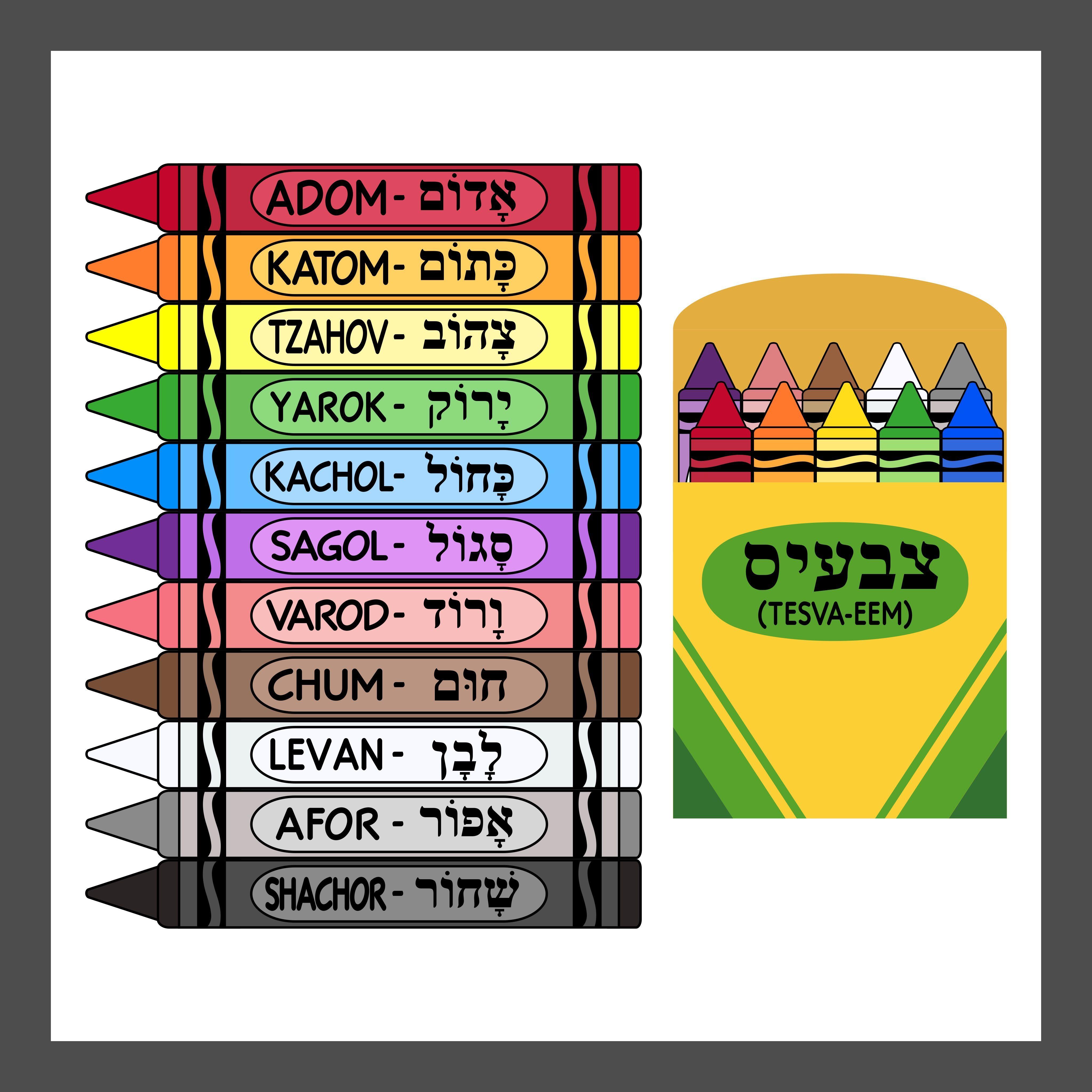 Colors In Hebrew Crayons In Hebrew