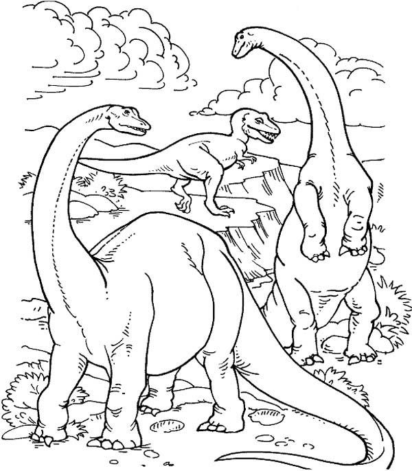 realistic dinosaurs life in their prime ages in dinosaur coloring page - Free Dinosaur Coloring Pages