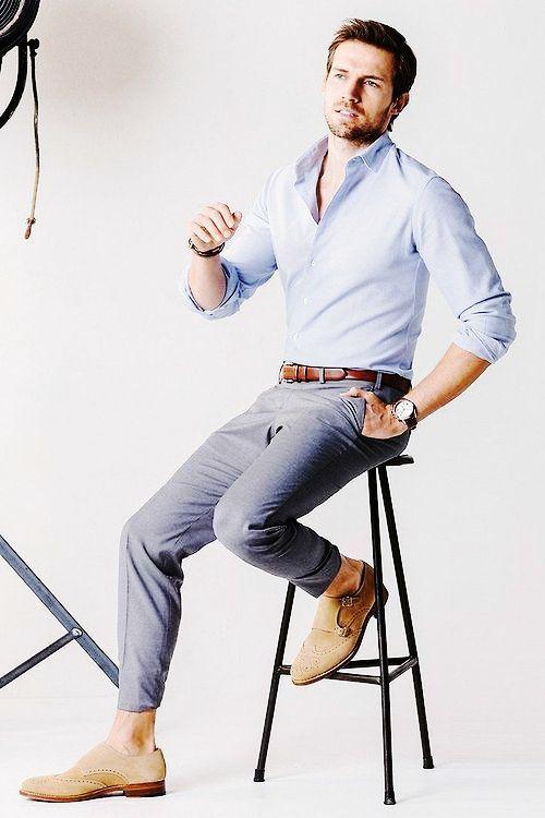 Light Blue Shirt And Grey Pants Formal Combination For Men Mens