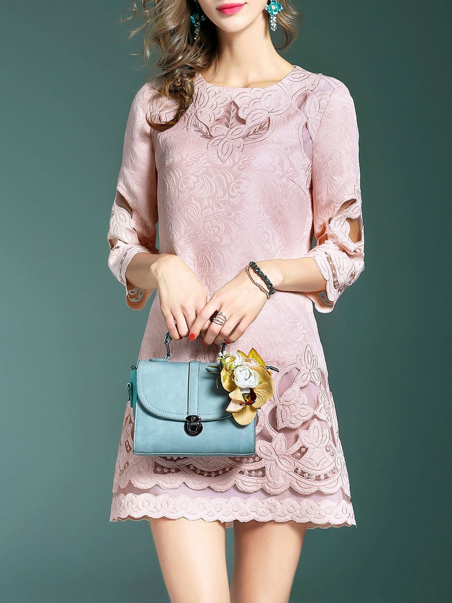 #AdoreWe #StyleWe Designer Mini Dresses - Designer DDER Embroidered A-line 3/4 Sleeve Cotton-blend Girly Mini Dress - AdoreWe.com