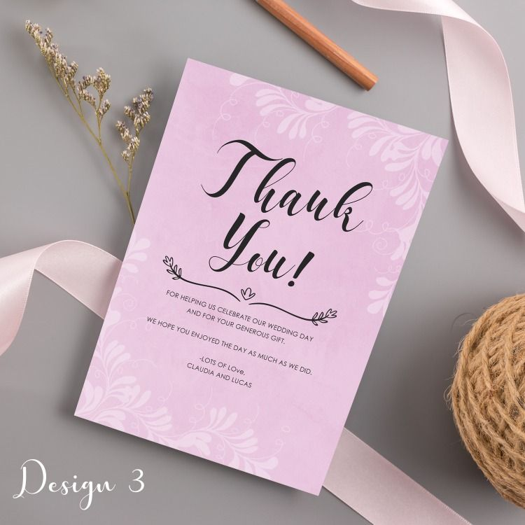 Personalised Wedding Thank You Cards Vintage Design ...