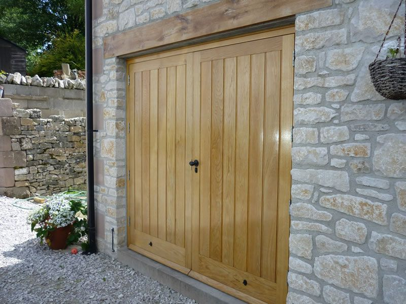 European Oak Garage Doors Clear Oiled Finish Side Hung Outward Opening Middleton By Wirksworth