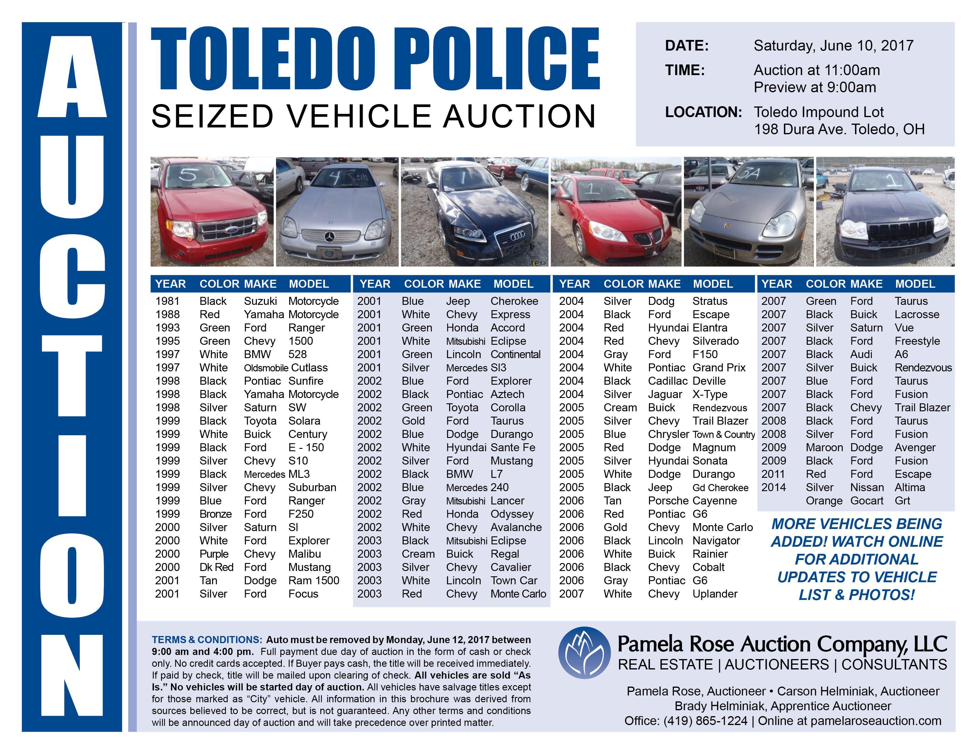 Police Impound Auction >> Toledo Police Seized Vehicle Auction 80 Vehicles Selling