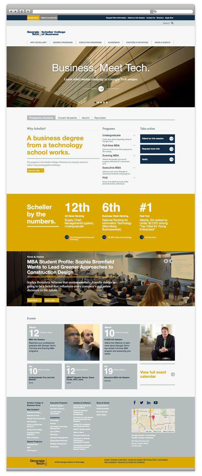 Georgia Tech Scheller College Of Business Website Redesign School Technology Website Redesign Mba Student