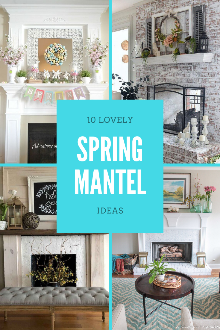Changing up your mantel is a great way to add seasonal decor to your home.  In this post, we'll look at 10 ways to design a spring mantel.    #springmanteldecor #springmantel #springmantle #manteldecor #springdecor #springlivingroom