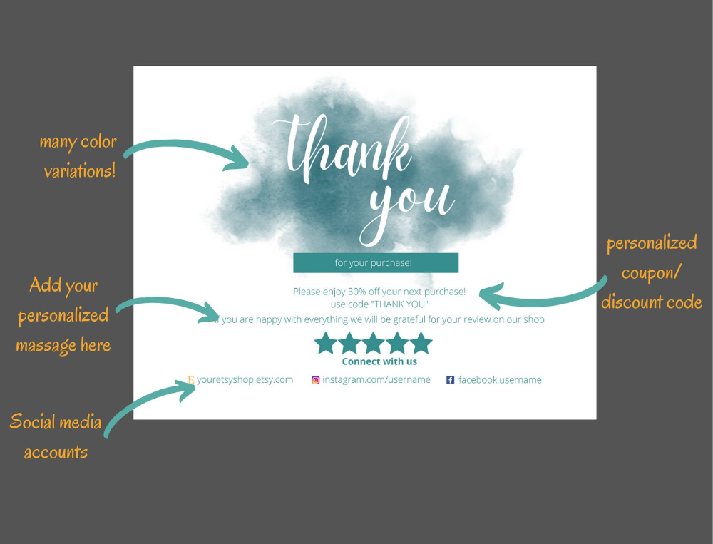 Editable Packaging Insert Thank You Card Product Attachment For Small Business Online Products Thank You Cards Printable Thank You Cards Thank You Card Template