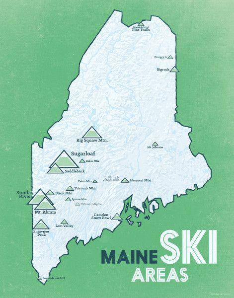 Ski Resorts In Maine Map.Maine Ski Resorts Map 11x14 Print Skiing Pinterest Skiing