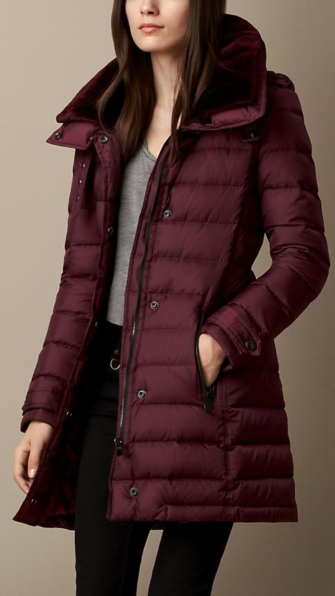 Deep claret Down-Filled Coat with Shearling Collar - Image 1 ...