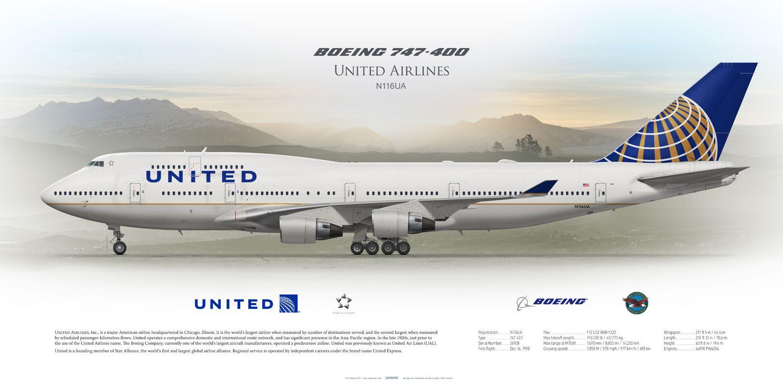 Boeing 747-400 United Airlines N116UA | Boeing 747 400 ...