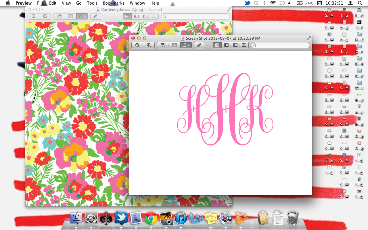 The Pink And Green Prep Monogram Desktop Backgrounds