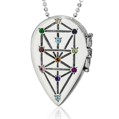 This drop shaped Tree of life necklace is made of sterling silver and set with precious gems according to the ten sephiroth scheme. This form of a tree represents the Kabbalah.