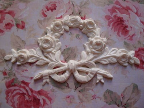 NEW Large Bow Ribbon Rose Floral CenterFurniture Applique ArchitecturalPediment