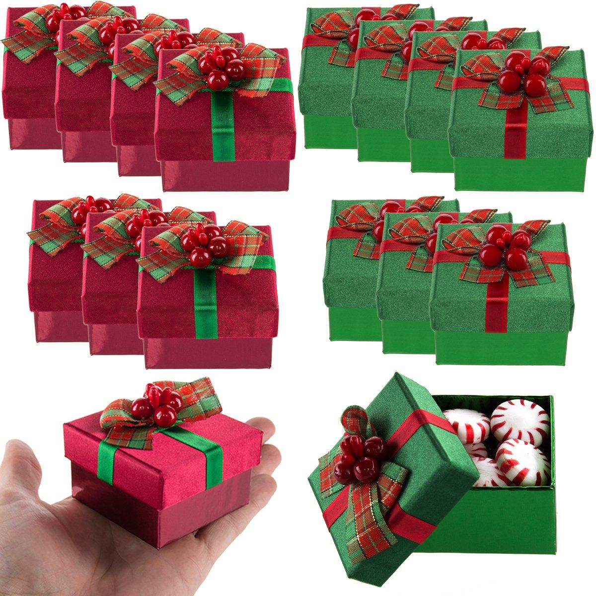 Forkeeps 8 pack mini gift boxes lids bows small