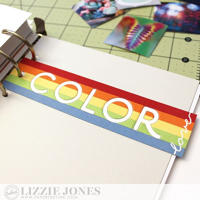 """Color Love Divider: """"love"""" using white embossing powder, covered in clear packing tape as divider """"COLOR"""" punched in white"""