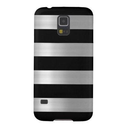 #stripes - #Black & Silver Metallic Stripes Galaxy S5 Cover