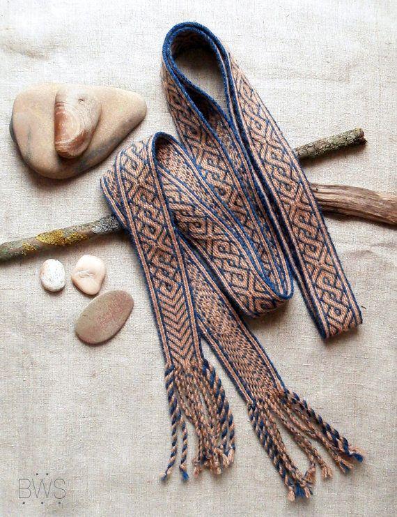 Tablet woven band, Birka pattern trim, indigo blue and madder red ...