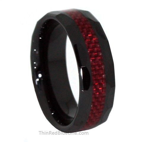 35 Thin Red Line 8mm Ceramic Scalloped Ring Fiber Inlay Blue Donations Made To Firefighter And Police Charities
