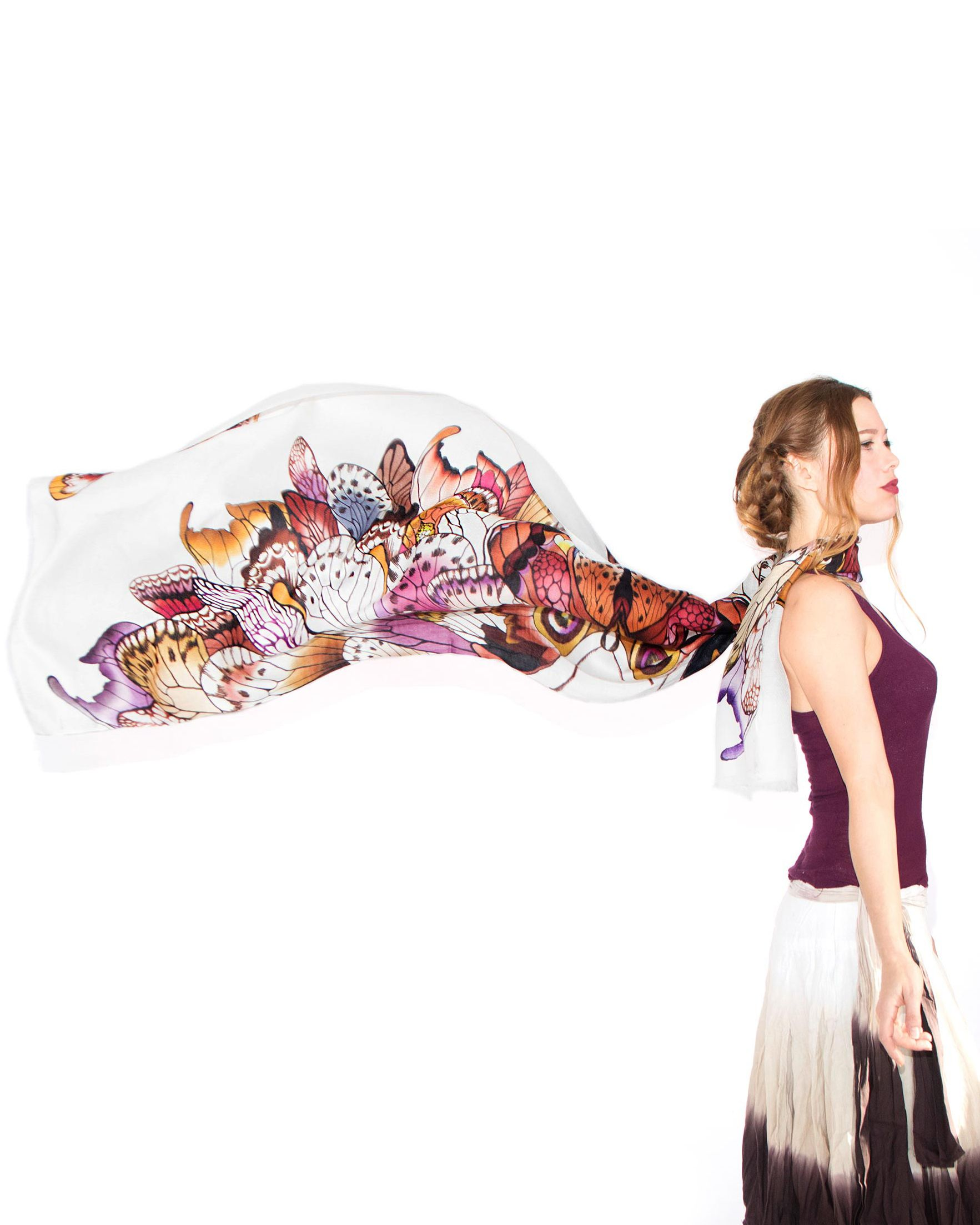 Fly away butterfly! This hand painted silk scarf is a summer must have.