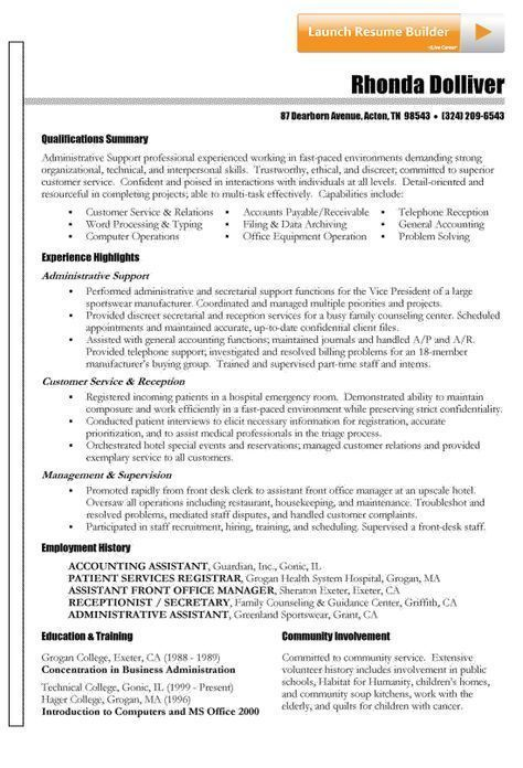 functional resume example from Resume-Resource Management
