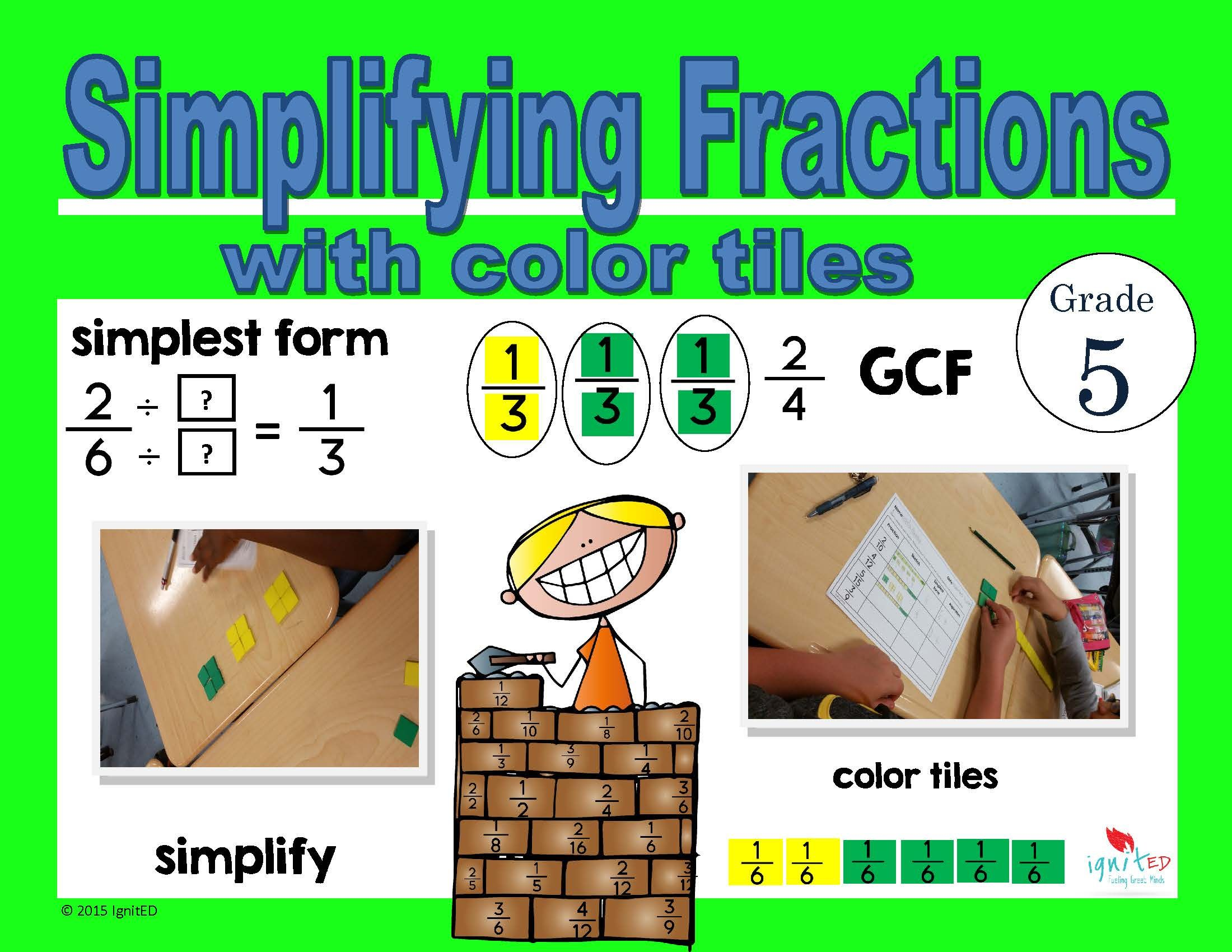 Simplifying Fractions Using Color Tiles
