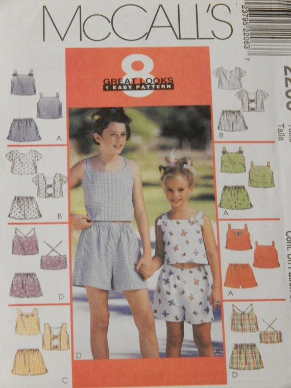 a34124b93af McCall s 2206 Summer tops and shorts pattern Uncut Girls sizes 7