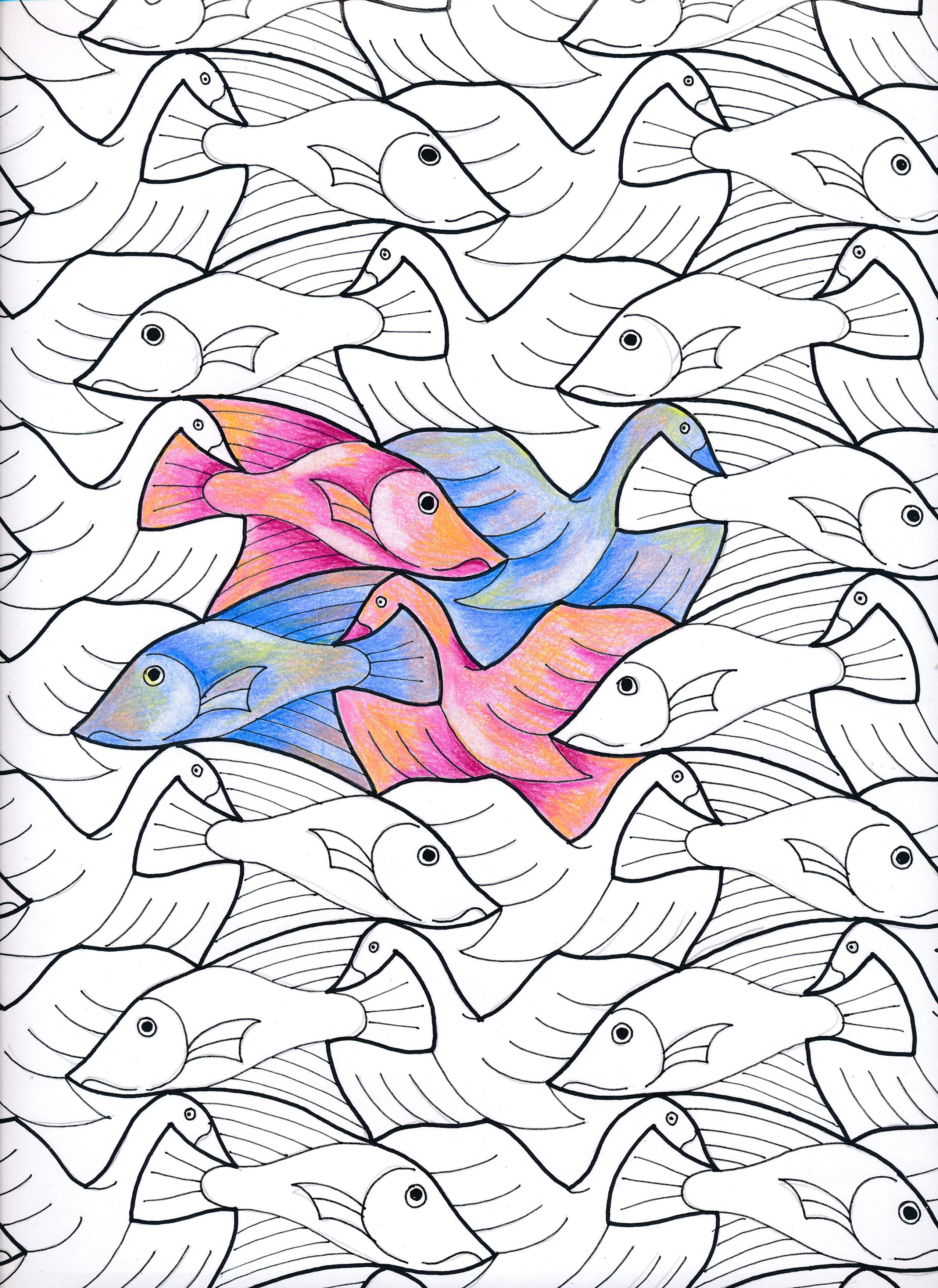 MC Escher 34a my interpretation #escher #tessellation #tiling ...
