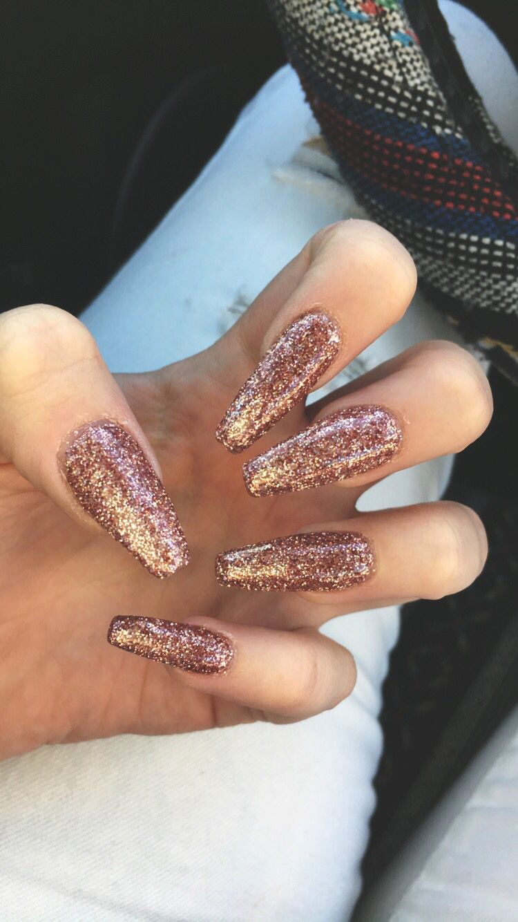 Rose Gold Coffin Nails Rose Gold Nails Acrylic Gold Acrylic Nails Gold Nails