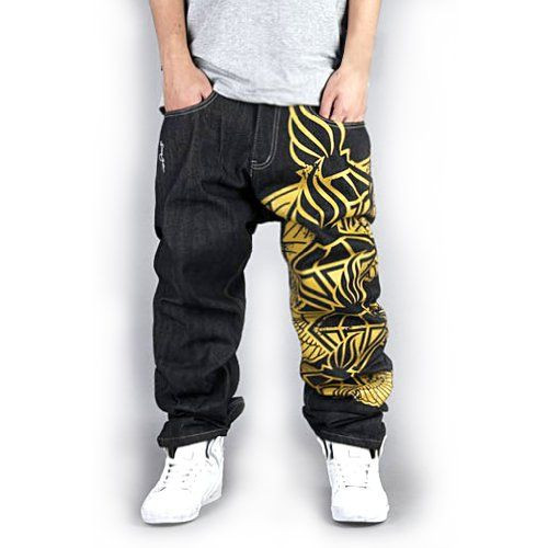 f04034aabece Generic Men's Hip Hop Street Style One Leg Graphic Painting Unwashed Baggy  Jeans 30 Black Zero