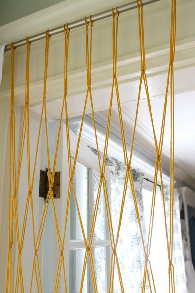 The Wicker House Easy Macrame Bead Curtain Using Yarn Beaded