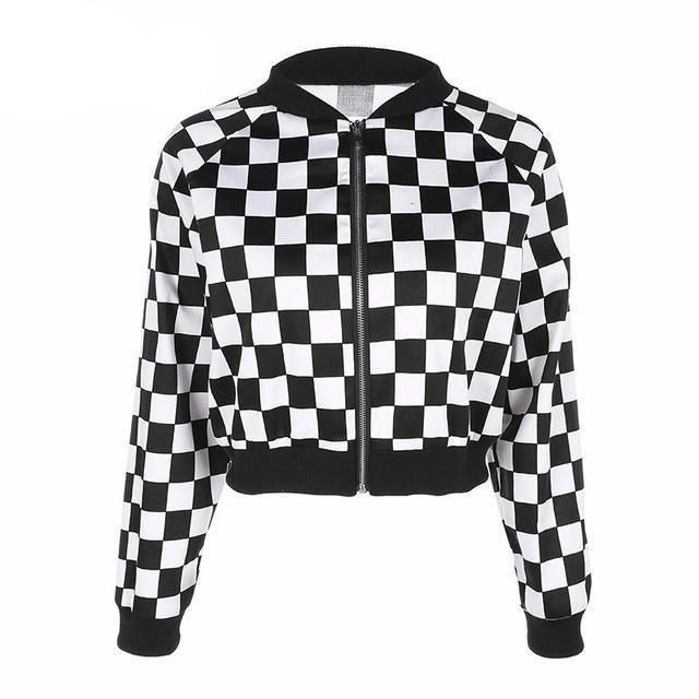 16cf3ab58 Cropped Checkered Bomber Jacket | Products | Jackets, Jackets for ...