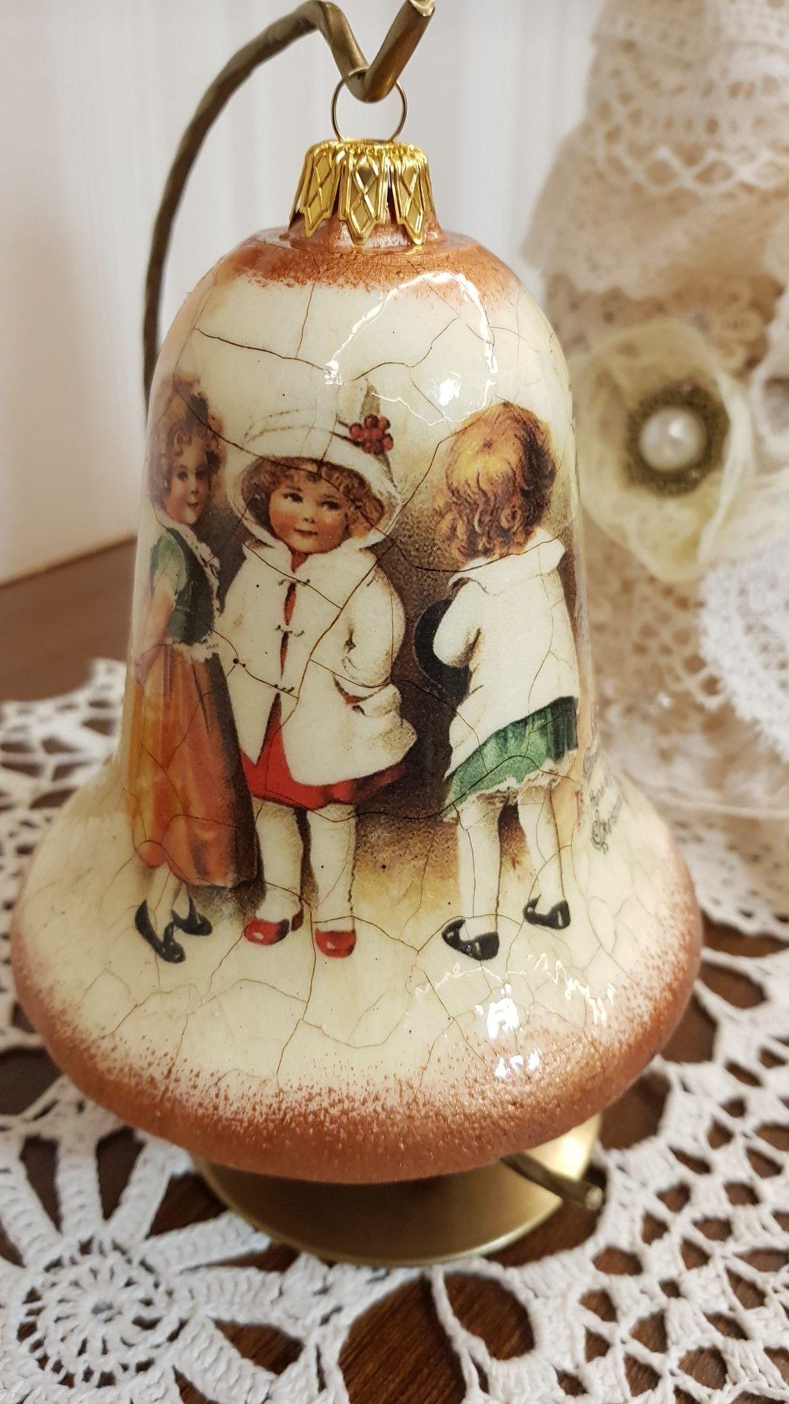 Christmas Bells, Christmas Ornaments, China Cabinet, Christmas Decoupage, Handmade Christmas,
