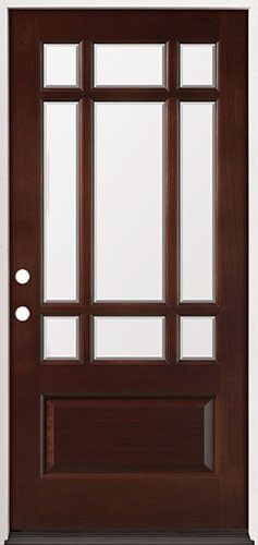 French 9 Lite Pre Stained Mahogany Front Door Craftsman