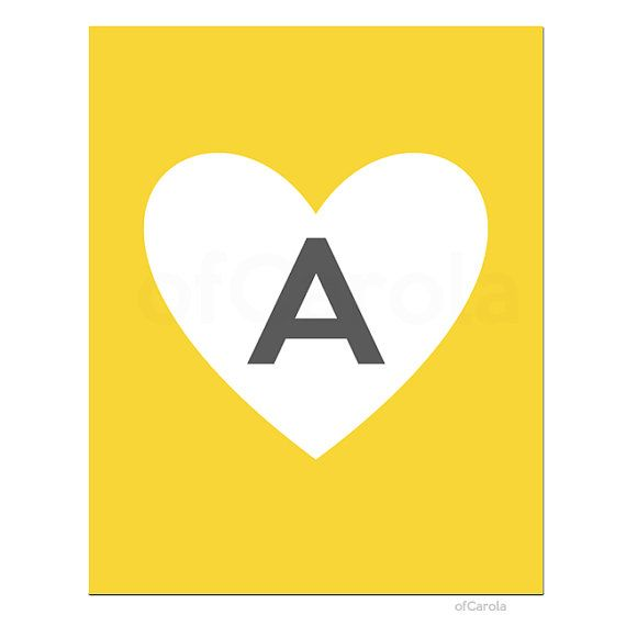 Wall Art Print Initial Letter Monogram A Heart Couple by ofCarola ...