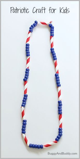 4th of July Craft for Kids: Patriotic Necklace - Buggy and Buddy