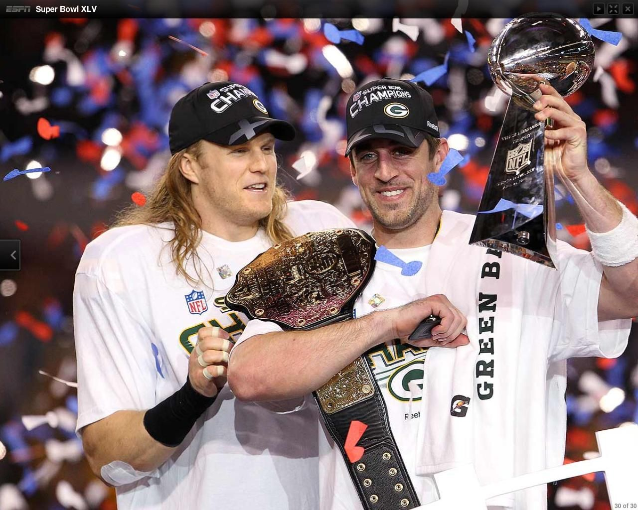 Aaron Rodgers With Championship Belt Superbowl Xlv Green Bay Packers Fans Clay Matthews