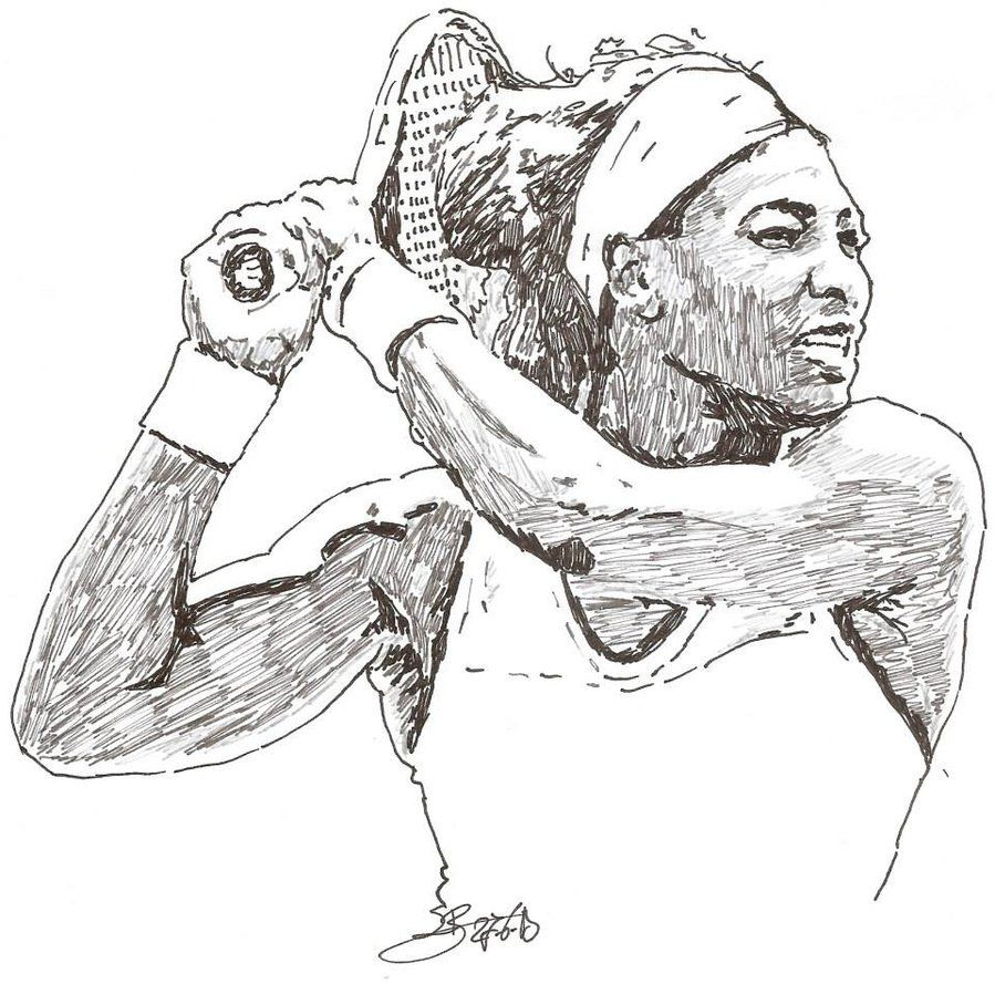 Pencil Drawings Of Tennis Balls And Rackets Coloring Pages Serena Williams Drawings