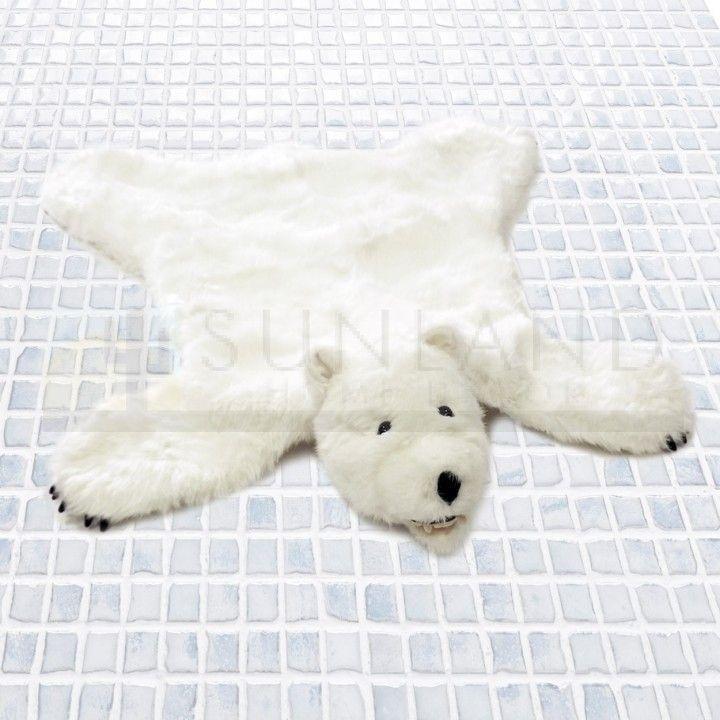 36in Polar Bear Premium Ultra Soft Plush Faux Animal Skin Rug Polar Bear Polar Bear Fur Animal Rug