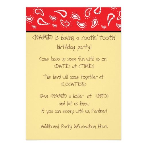 Cowgirl Party Invitation Wording FOR 3RD BIRTHDAY