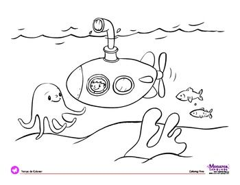 coloring page transportation theme submarine ocean