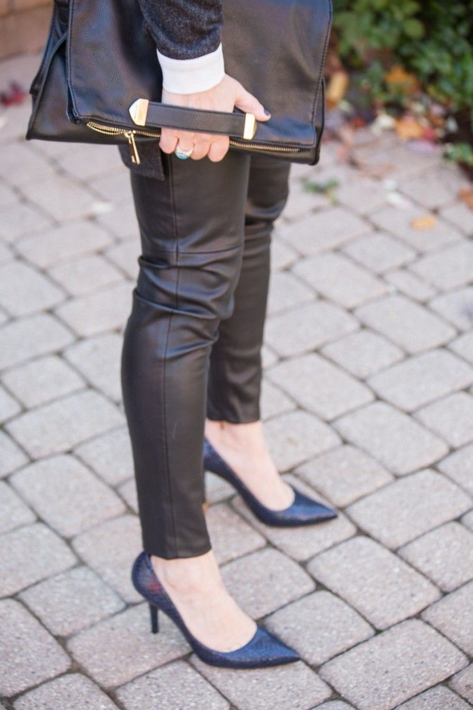 Faux Leather Chic - faux leather leggings and navy pumps